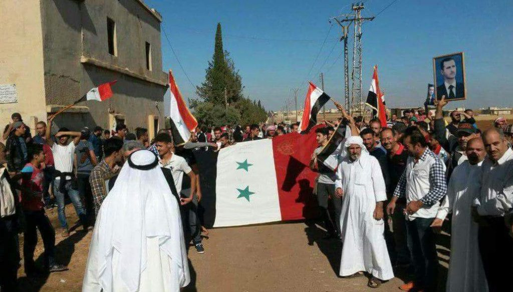 Doček za Sirijsku vojsku u gradu Al-Gariyeh, Daraa